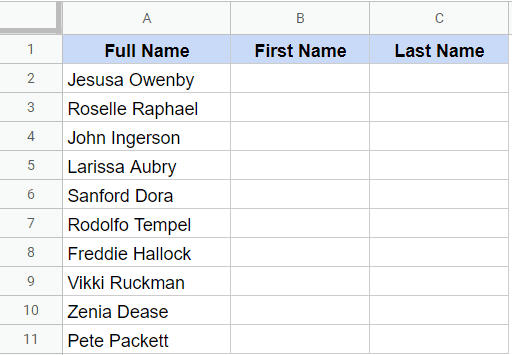 Separate First and Last Name Sample Dataset