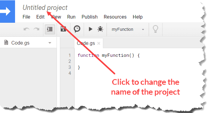 Google Sheets Script - Change the name of the Project