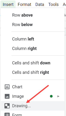 Click on Drawing option to insert a shape in Google Sheets