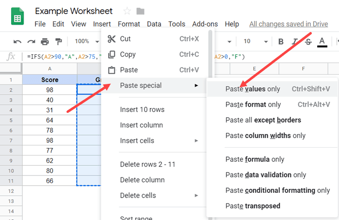 Click on Paste Values Only