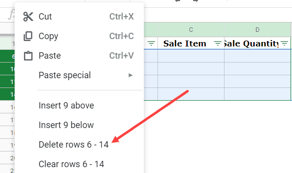 Delete all blank rows after filtering