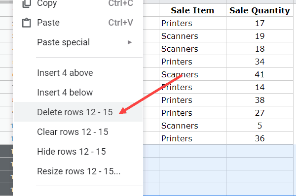 Delete all empty rows after sorting