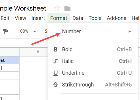 Hover on Number option in the Format tab