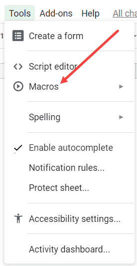Hover the cursor over Macro option