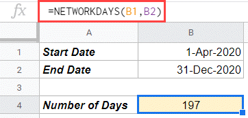Net working days between two dates