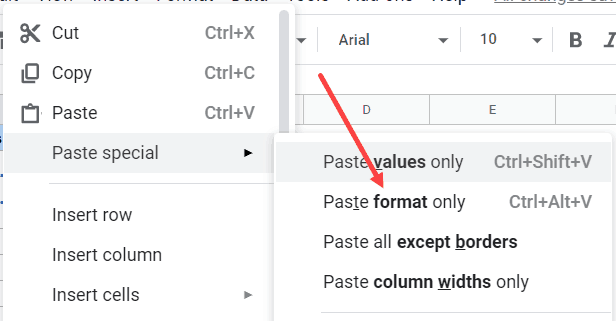 Paste Format Only to copy indent format in Google Sheets