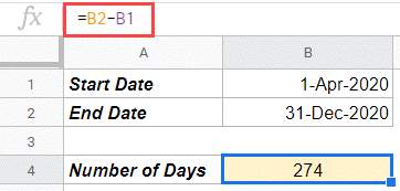 Subtract Dates to get number of days in between