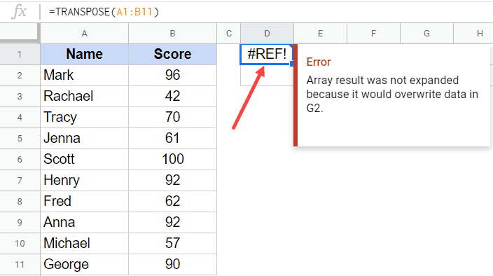REF Error when there is some data in cell already