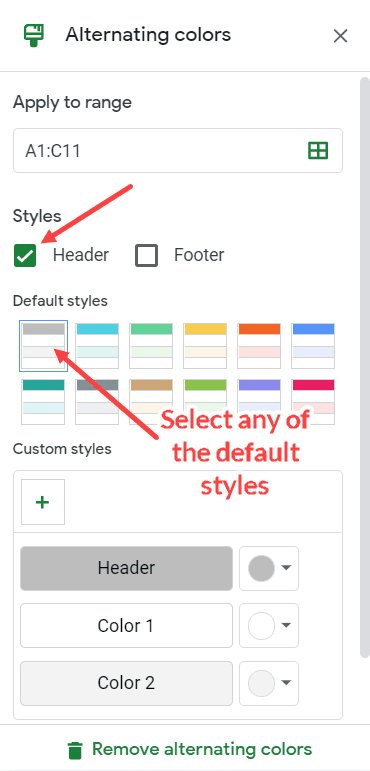Alternating Color - Shade every other row in Google Sheets