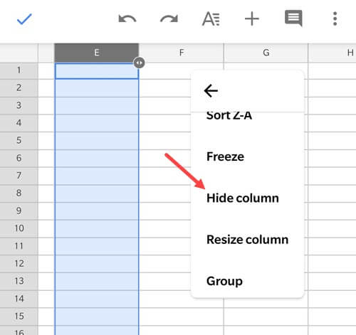 Click on hide Column option in the Google Sheets App