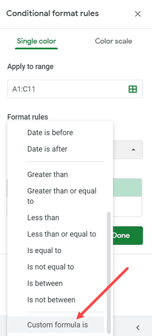 Custom Formula is Option in Conditional Formatting Pane in Google Sheets