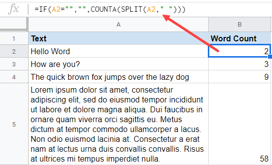 Formula to get the word count in Google Sheets