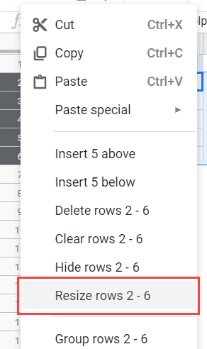 Resize Rows Option in Google Sheets