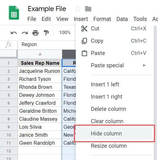 How To Hide Columns In Google Sheets (An Easy Guide