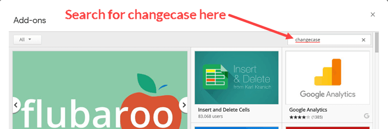 Search for changecase add-on