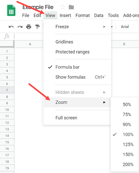 Zoom in and Zoom Out in Google Sheets Using the View tab Options