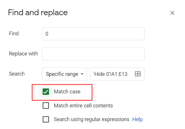 Click on the Match Case option in Find and Replace