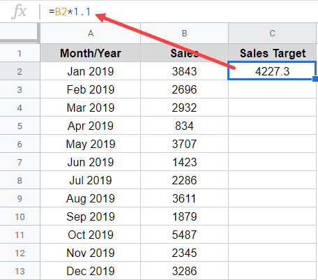 Fill Down a formula in Google Sheets