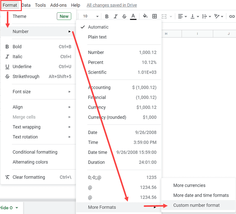 Open the Custom Number formatting option in Google Sheets