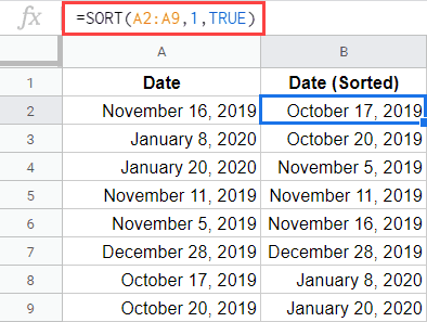 SORT formula to sort by date in Google Sheets