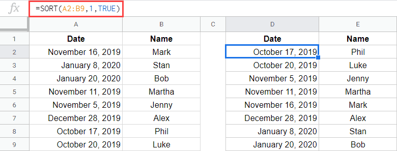 SORT formula when you have multiple columns
