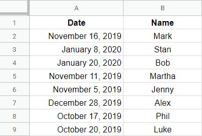 Sort Multiple Columns by date in Google Sheets