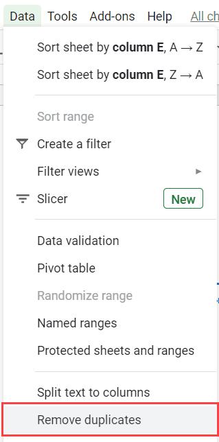 Clcik on Remove duplicates
