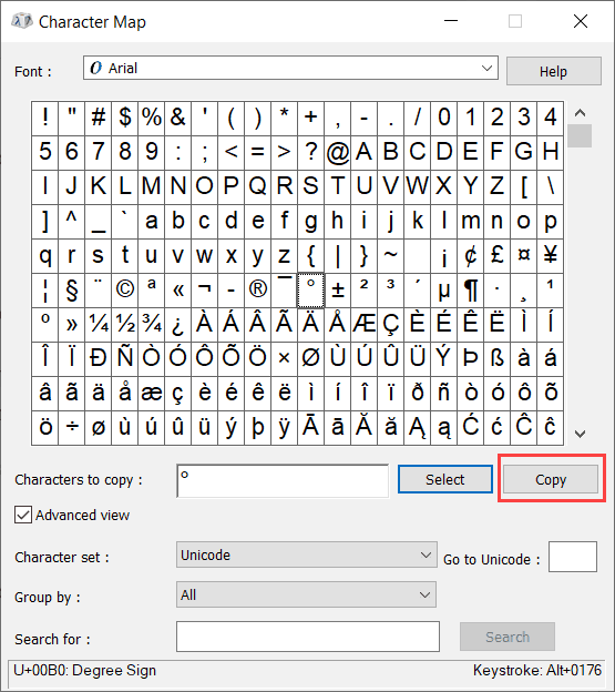 Click on Copy button to copy the degree symbol