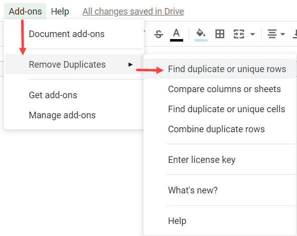 Click on Find Duplicate or Unique rows
