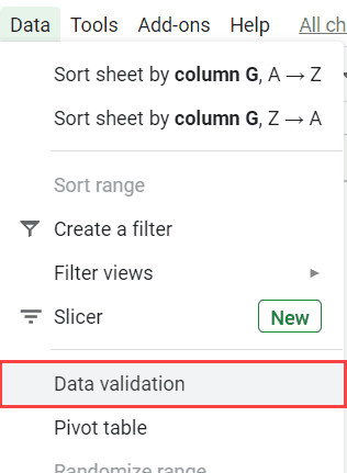 Click the Data Validation option in the menu