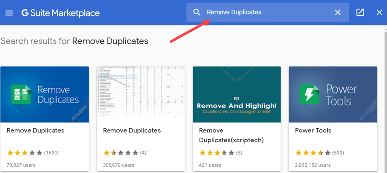 Enter Remove Duplcates in the Add on search bar