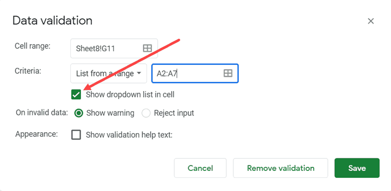 Make Sure show dropdown list in cell is selected