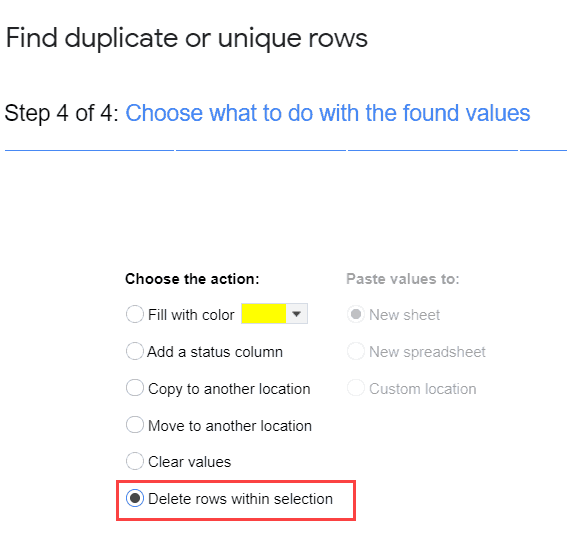 Select Delete rows within selection