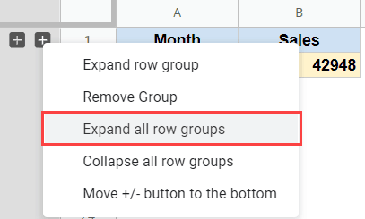 Expand or collapse all rows options