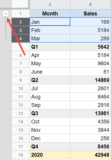 Minus button appears when you group rows