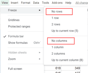 Select No row and No column to unfreeze in Google Sheets