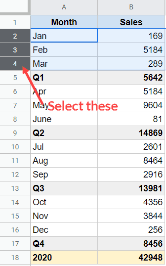 Select the rows that you want to group