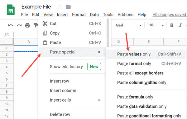 Paste Values as in Google Sheets