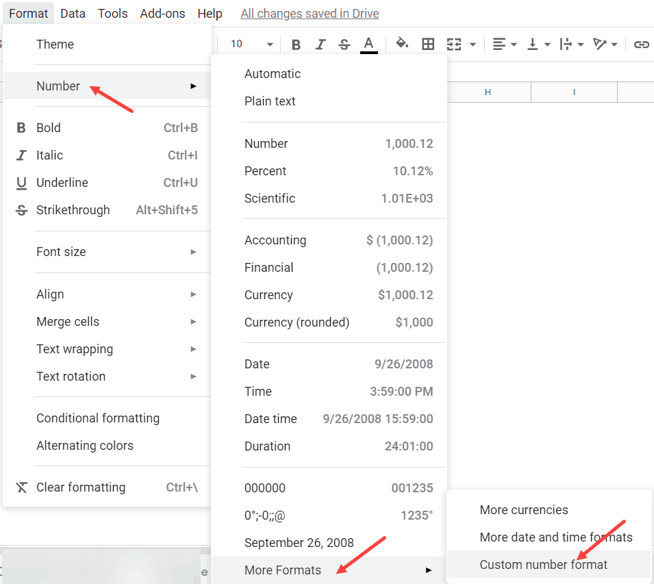 Click on Custom Number Format to Keep leading Zeros in Google Sheets