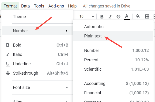 Click on Number and Then click on Plain Text