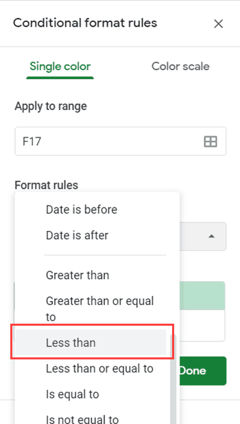 Click on the less than option