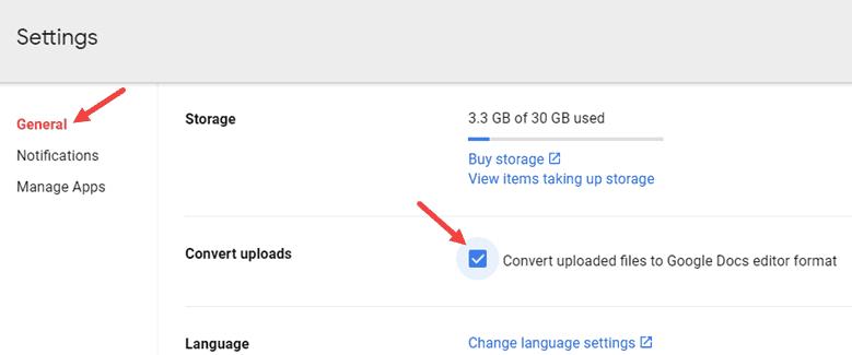 Convert Uplaod files to Google Docs Editor format