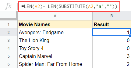 Count number of occurrence of a specific character in Google Sheets