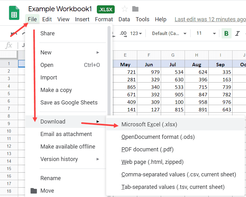 Download a Google Sheet Document as an Excel FIle
