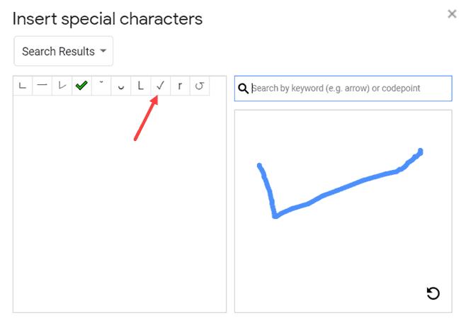Draw the checkmark symbol