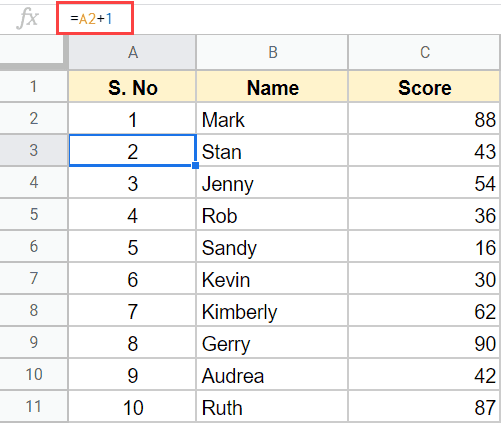 Number rows in Excel with formula to add previous cell