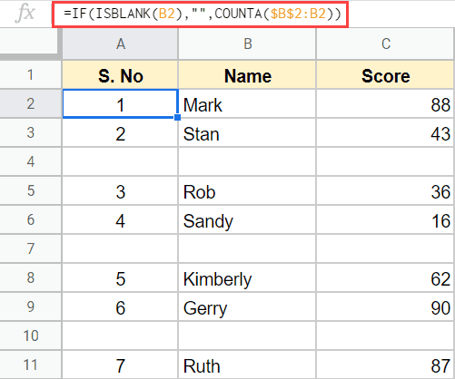Numbering rows with formula when there are blank cells