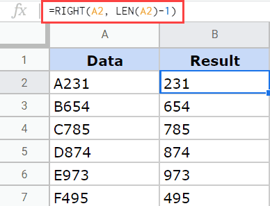 RIGHT formula to remove the first string in Google Sheets