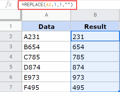 Replace function in Google Sheets