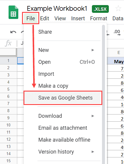 Save an Excel file as Google Sheets